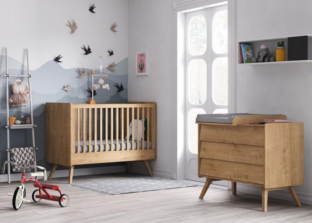 Chambre complète Vox, modèle Vintage bois naturel