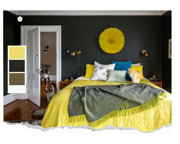 chambre jaune citron et vert