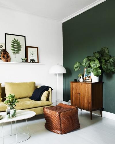 Deco de salon vert et jaune