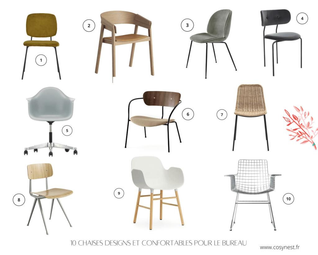 Collage photo 10 modèles de chaises designs